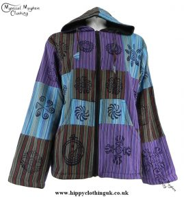 Bares Multicoloured Cotton Patchwork Hooded Hippy Festival Jacket Purple, Green, Turquoise