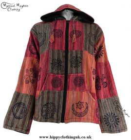 Bares Multicoloured Cotton Patchwork Hooded Hippy Festival Jacket Red, Orange, Brown, Green