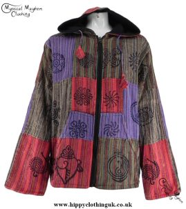 Bares Multicoloured Cotton Patchwork Hooded Hippy Festival Jacket Red, Purple, Brown, Green