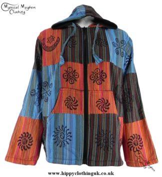 Bares Multicoloured Cotton Patchwork Hooded Hippy Festival Jacket Turquoise, Orange, Green
