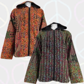 Circle and Stripes Patchwork Cotton Fleece Lined Jacket