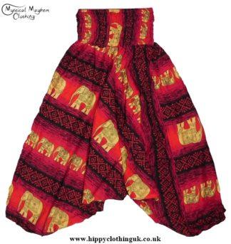 Hippy Style Elephant Patterned Harem Trousers