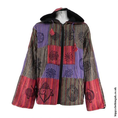 Multicoloured Fleece Lined Patchwork Jacket