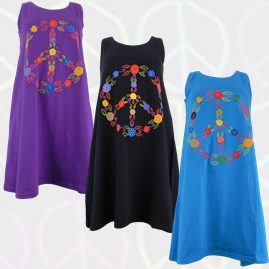 Nepalese Cotton Hippy Peace Sign Dress