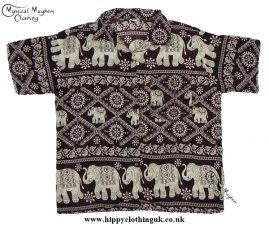HIppy Thai Short Sleeve Elephant Shirt Brown