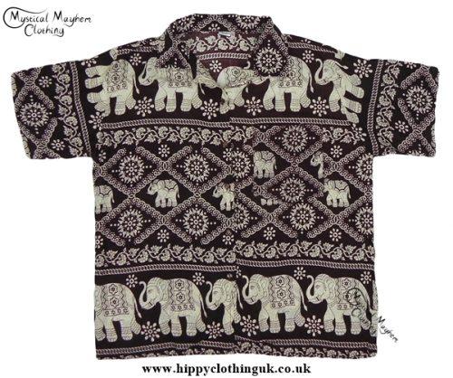 HIppy Thai Short Sleeve Elephant Shirt Brown