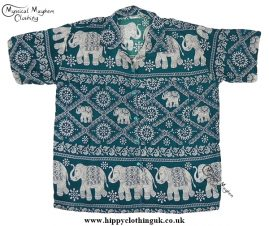 HIppy Thai Short Sleeve Elephant Shirt Green