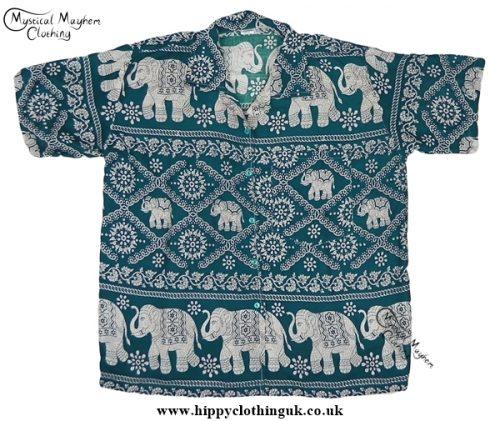 HIppy Thai Short Sleeve Elephant Shirt Green