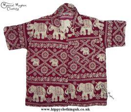 HIppy Thai Short Sleeve Elephant Shirt Red Burgundy