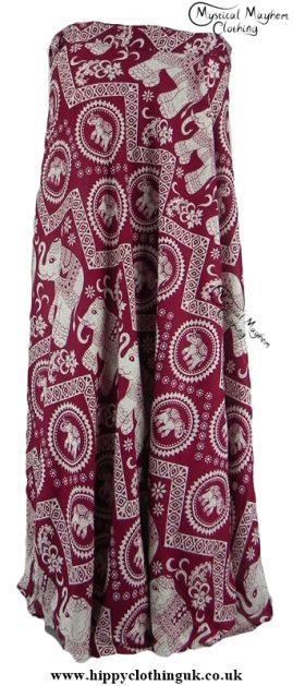 Long Thai Elephant Hippy Wrap Skirt Burgunday Red