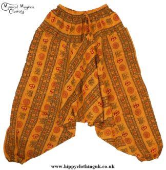 Orange Printed Pattern Harem Trousers