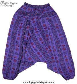 Purple Printed Pattern Harem Trousers