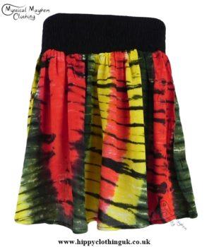 Rasta Hippy Festival Tie Dye Mini Skirt