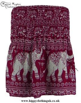 Short Thai Elephant Hippy Mini Skirt Burgundy Red