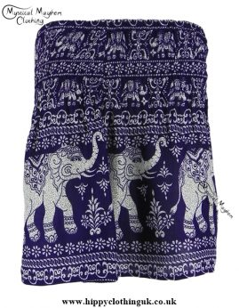 Short Thai Elephant Hippy Mini Skirt Purple