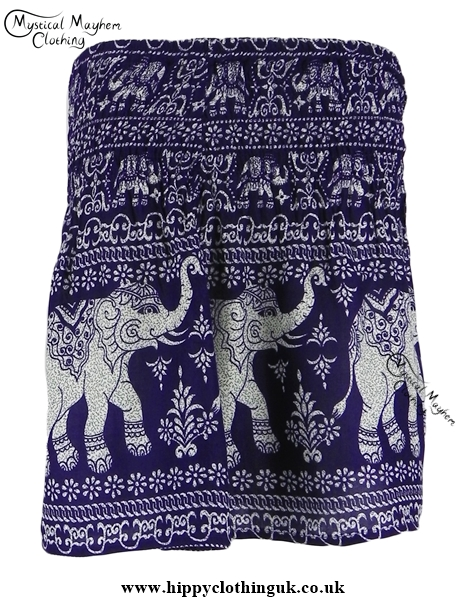 Short Thai Elephant Hippy Mini Skirt Purple