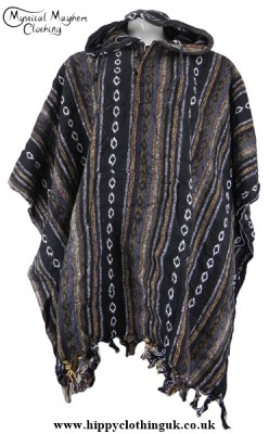 Black White and Brown Nepalese Cotton Thick Weave Poncho