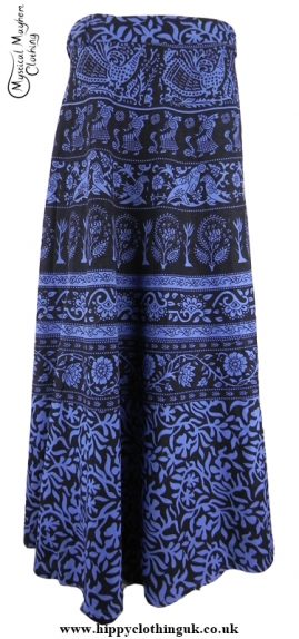 Long Cotton Throw Wrap Hippy Festival Skirt Blue