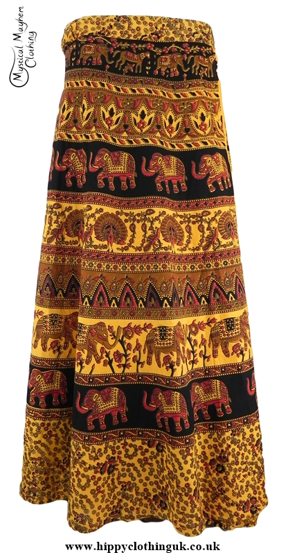 Long Cotton Throw Wrap Hippy Festival Skirt Light Orange