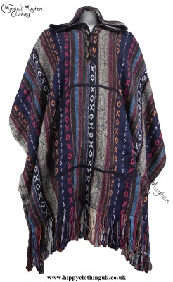 Nepalese Cotton Thick Weave Poncho White bLue Red