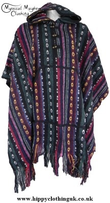 Nepalese Unisex Hippy Festival Thick Weave Cotton Poncho