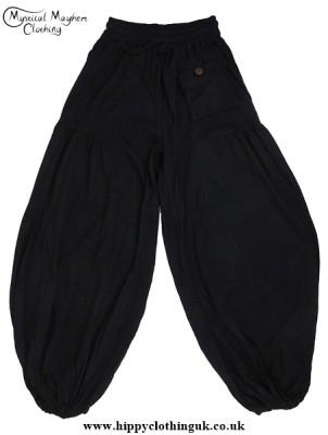 Plain Black Baggy HIppy Trousers