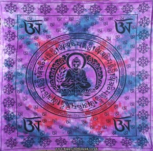 Purple Buddha Cotton Hippy Throw, Wall Hanging, Bed Spread