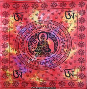 Red Buddha Cotton Hippy Throw, Wall Hanging, Bed Spread