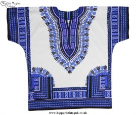 Thai Short Sleeve Cotton Hippy Festival Top, Shirt, One Size Only Blue and WHite