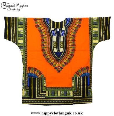 Thai Short Sleeve Cotton Hippy Festival Top, Shirt, One Size Only Orange