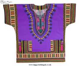 Thai Short Sleeve Cotton Hippy Festival Top, Shirt, One Size Only Purple