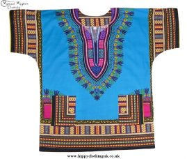 Thai Short Sleeve Cotton Hippy Festival Top, Shirt, One Size Only Turquoise