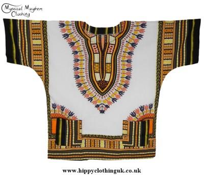 Thai Short Sleeve Cotton Hippy Festival Top, Shirt, One Size Only White Orange