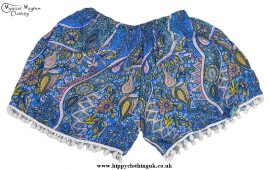 Womens Colourful Hippy Festival Shorts with Mini Pom Poms Turquoise Blue