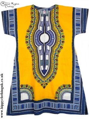 Yellow Coloured Long Cotton Thai Kaftan Dress Unisex