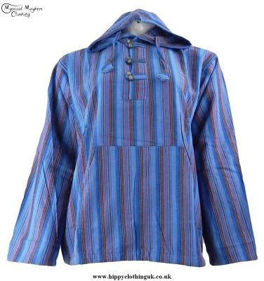 Bares Hooded Hippy Grandad Shirt Dark Turquoise