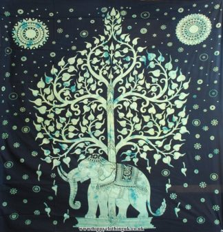 Black Elephant and Tree Elephant hippy throw with green detail