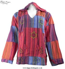 Gringo Cotton Patchwork Hooded Hippy Top