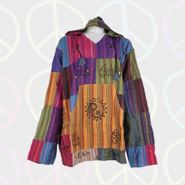 Gringo Patchwork Hooded Hippy Tops