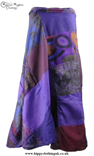 Gringo Cotton Patchwork Wrap Hippy Skirt Purple