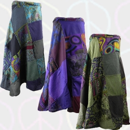 Gringo Cotton Patchwork Wrap Hippy Skirts
