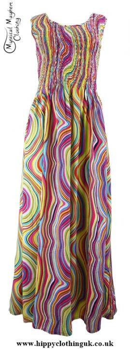 Long Hippy Festival Summer Maxi Dress Multicoloured Lines