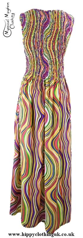 Long Hippy Festival Summer Maxi Dress Multicoloured lines back