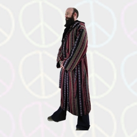 Male Long Hippy Coat, Jacket, Jedi Cloak