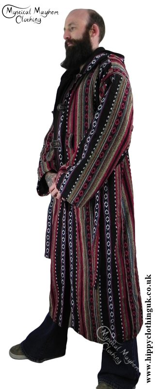 Male Long Hippy Coat, Jacket, Jedi Cloak Black and Red