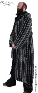 Male Long Hippy Coat, Jacket, Jedi Cloak Black and White