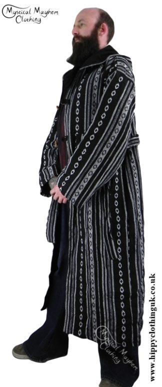 Male Long Hippy Coat, Jacket, Jedi Cloak Black and White