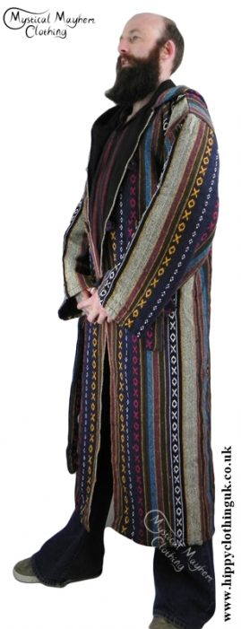 Male Long Hippy Coat, Jacket, Jedi Cloak Blue, Cream