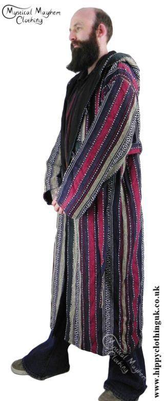 Male Long Hippy Coat, Jacket, Jedi Cloak Cream, Pink, Purple