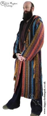 Male Long Hippy Coat, Jacket, Jedi Cloak Orange, Turquoise Blue